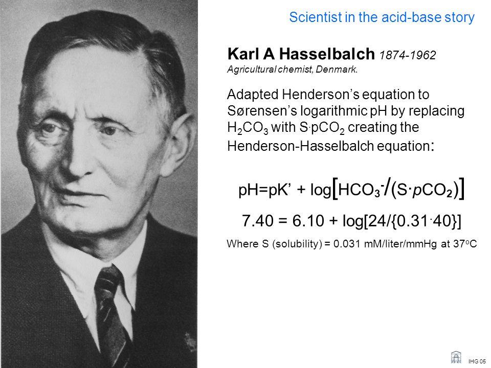 pH=pK' + log[HCO3-/(S.pCO2)] 7.40 = 6.10 + log[24/{0.31.40}]
